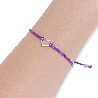 Claudia Lira Joyas Purple Womens Friendship Bracelet, Small Handmade Sterling Silver 925 Open Heart Shaped Charm, Pull Adjustable Kindred Cord Thread. Perfect Gift Set