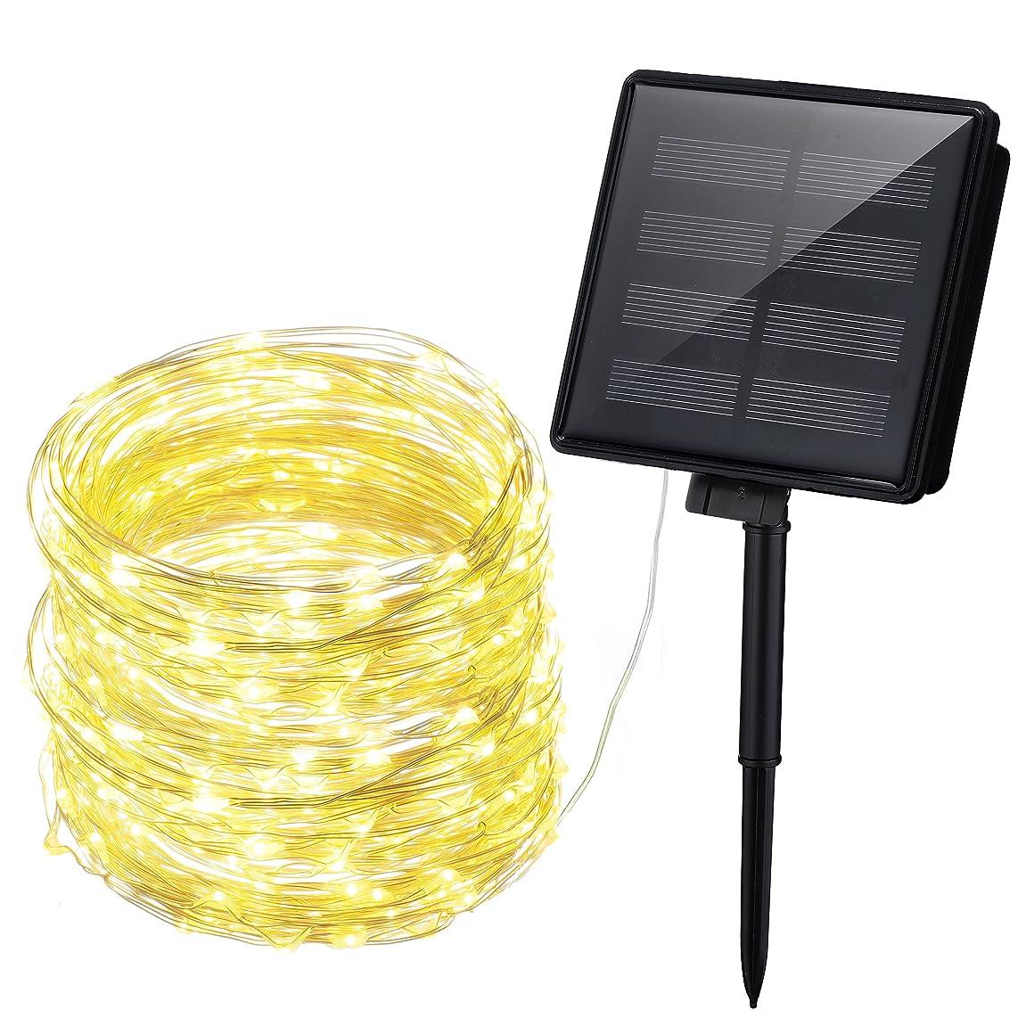 クリスマスありそう頑張るMpow ストリングライト ソーラー充電式 200led電球 20m 8点灯モード イルミネーションライト IP64防水 電飾 飾り パーティー アウトドア 結婚式対応