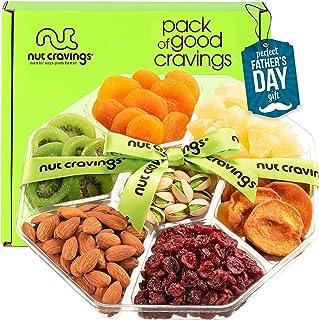 Fathers Day Dried Fruit & Nut Gift Basket + Green Ribbon (7 Piece Assortment, 1 LB) - Prime Arrangement Platter, Birthday ...