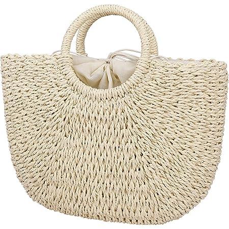 MaoXinTek Sommer Strand Tasche Damen Stroh Handtasche, Geflochten Korbtasche Basttasche Strand Schultertasche Einkaufstasche für Reise Urlaub Freizeit