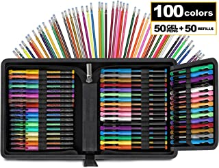 100 Pack of Glitter Gel Pen Set [Travel CASE Included] Notebook Bullet Journal Gel Metallic Pastel Refill Ink Nontoxic Adult Art Supplies for Coloring Book Drawing Doodling Craft