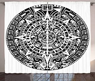 Lunarable Aztec Curtains, Mayan Calendar End of The World Prophecy Mystery Cool Culture Design Print, Living Room Bedroom Window Drapes 2 Panel Set, 108