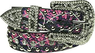 Pink Camo Belt - Women's Western Cowgirl Rhinestone Studded Bling Belt with Buckle X-Large