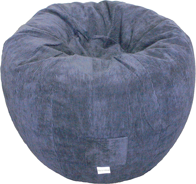 Boscoman - Corduroy Adult Round Beanbag Chair- Navy (BOX M)