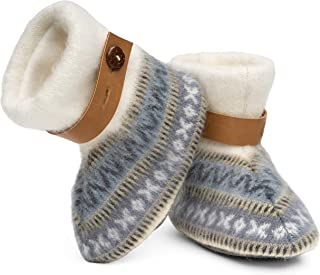 QISU Polar Fleece Baby Booties for Girls and Boys, Designer Boots, Soft Comfort