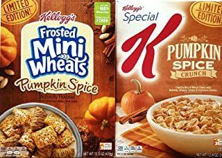 Frosted Mini Wheats Pumpkin Spice, Special K Pumpkin Spice Crunch - Limited Edition - Variety Pack of 2 Cereals
