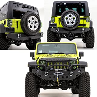 Restyling Factory -Front Bumper with OE Fog Light Hole & 2x D-Ring+Rear Bumper with 2