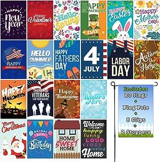 Fat Zebra Designs Seasonal Garden Flags Set   19 Pack Assortment of 12-inch x 18-inch Flags   Includes Garden Flag Pole Wi...