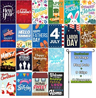 Fat Zebra Designs Seasonal Garden Flags Set | 19 Pack Assortment of 12-inch x 18-inch Flags | Includes Garden Flag Pole Wind Clips and Stopper | Double-Sided Polyester Durable