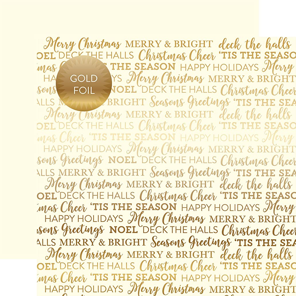 Echo Park Paper Holiday Sentiments Gold Foil Double-Sided Cardstock 12