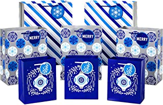 Hallmark Holiday Gift Bag Assortment, Blue and Silver (Pack of 8 Gift Bags; 3 Small 6