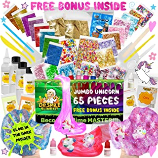 DR SMILE Slime Kit For Girls & Boys & DIY Slime Supplies +65pcs, Educational Science Gift Toy. Kids can Make Rainbow Unicorn, Emoji, Snow, Glow-in-The-Dark, & More Slime & Putty with Bonus Surprise