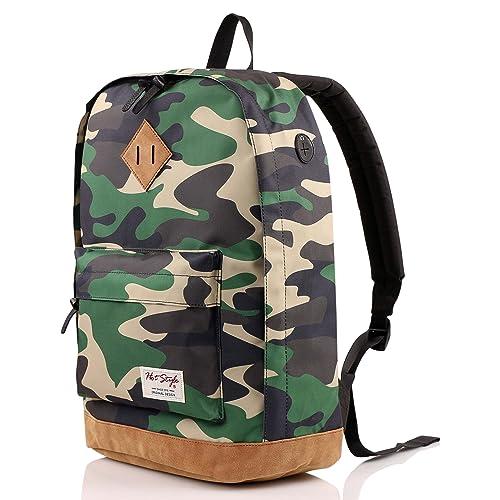 "936Plus College School Backpack Travel Rucksack | Fits 15.6"" Laptop | 18""x12""x6"" | Jungle Camo"