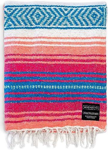 Authentic Mexican Blanket - Park Blanket, Handwoven Serape Blanket, Perfect as Beach Blanket, Picnic Blanket, Outdoor...