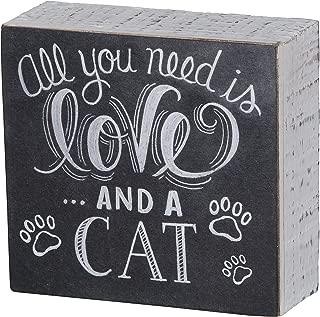 Primitives by Kathy Wooden Chalk Art Box Sign, cat