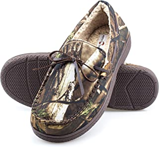 Mens Memory Foam Indoor/Outdoor Durable Comfortable Slip On Moccasin Slippers