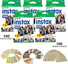 Fujifilm Instax Wide Instant Film and Frame Stickers – 100 Wide Format Photo Sheets, ISO800, Glossy Finish – 100 Bonus Fun Picture Stickers - for Instax 210, 200, 100, 300