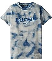 Balmain Kids - Short Sleeve Tie-Dye Logo Tee (Little Kids/Big Kids)