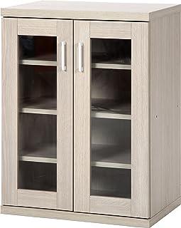 不二貿易 キャビネット リビング収納 幅60cm ホワイトウォッシュ 食器棚 ラルゴ 95500
