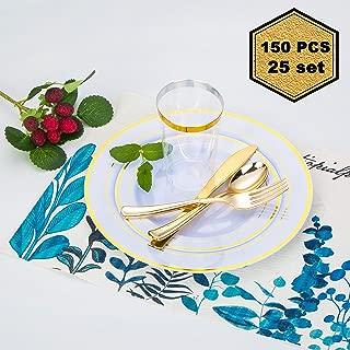 ZVSP 150 Pcs Guest Disposable Plastic Dinnerware Set, include 25 Dinner Plates (10.25