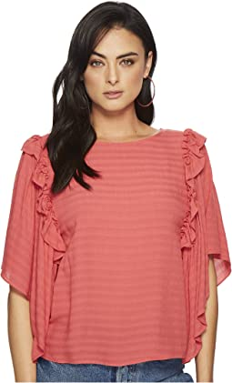 1.STATE Ruffle Shoulder Bell Sleeve Blouse