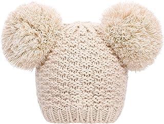 Eqoba Women's Winter Chunky Knit Double Pom Pom Beanie Hat