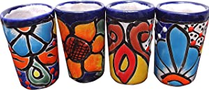 Authentic Mexican Tequila Glasses Talavera Shot Artisanal colorful hand-painted Set of 4, 2 oz Each 50 Ml Cinco de Mayo Vaso Tequilero Scotch Christmas New Year Cheers