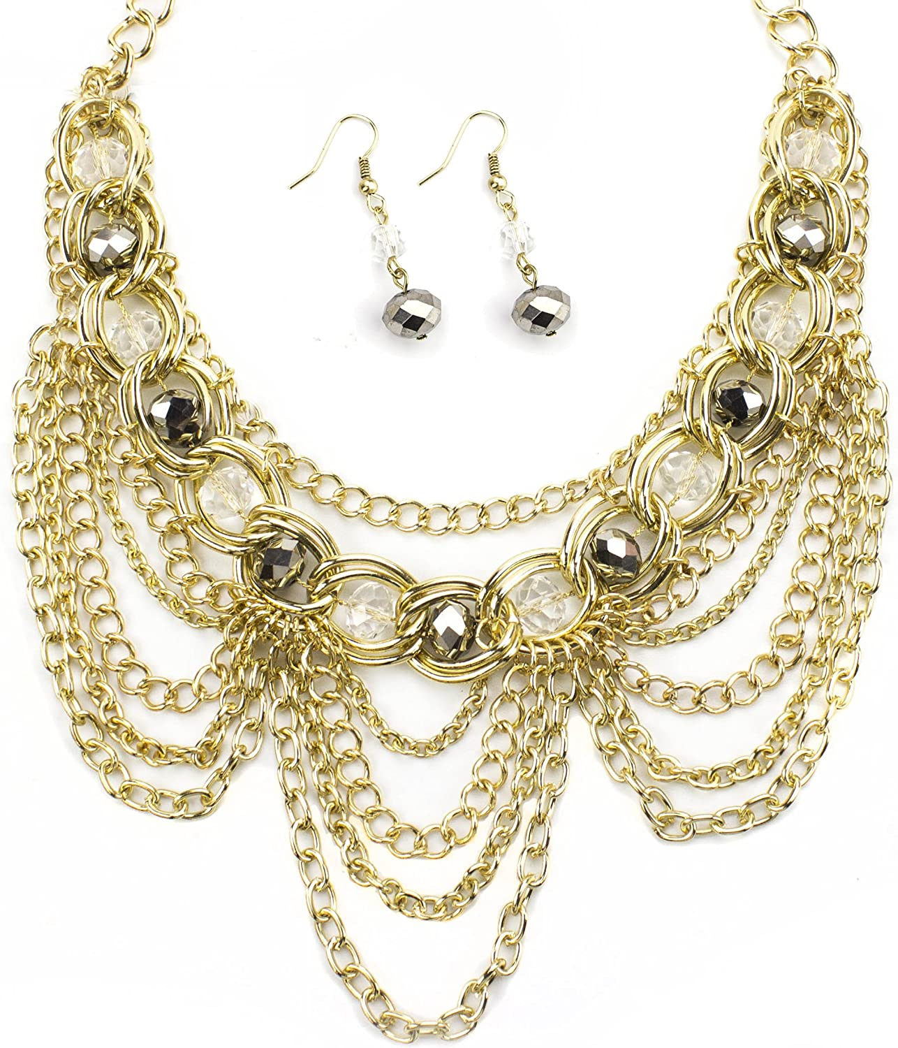 LookLove Womens Jewelry Gold Max 58% OFF Super Special SALE held Chain and Earrin Necklace Statement
