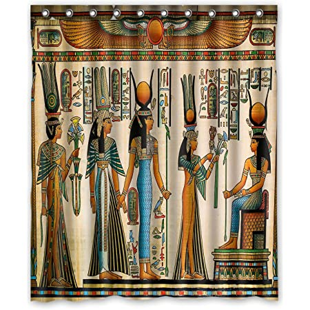 Ancient Egypt Queen Shower Curtain for Bathroom 69X70IN Egyptian Psychedelic Mural Decor Fabric Shower Curtain with 12PCS Hooks Egyptian King and Hieroglyphic Carvings on Papyrus Shower Curtains