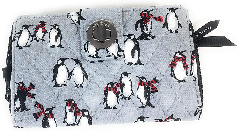 Vera Bradley RFID Discount mail order Turnlock Playful Penguins Gray Wallet San Antonio Mall