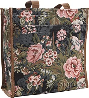 Signare Tapestry Navy & Pink Women's Shopping Tote Bag in Peony Design (Shop-PEO)