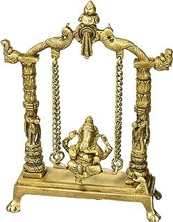 Statue Ganesha Sculpture Decor Sitting On Jhula; Brass; 12 Inches
