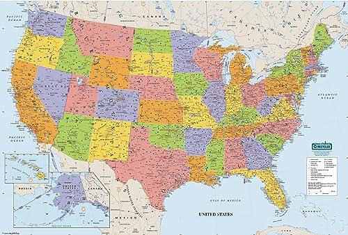 House of Doolittle Schreiben Sie an   Wischen Sie weg Laminated USA-Karte 50 x 33 Zoll (HOD720)
