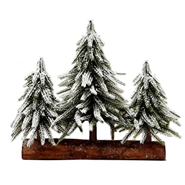VGIA 3 Small Christmas Tree with Wood Stand Flocked Snow Christmas Decoration Tabletop Centerpiece