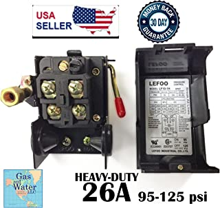 Lefoo Pressure Switch Control 95-125psi 1 Port Heavy Duty 26 Amp for Air Compressor