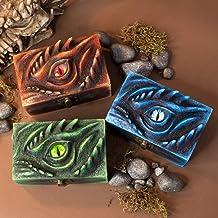 Meraxes scatola porta dadi occhio di drago in resina e legno per D&D e gioco di ruolo