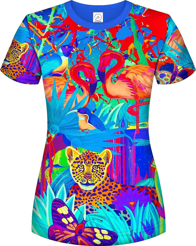 Aofmoka Neon UV 3D Blacklight Handmade Art Vivid Pop colors Party Women TShirt