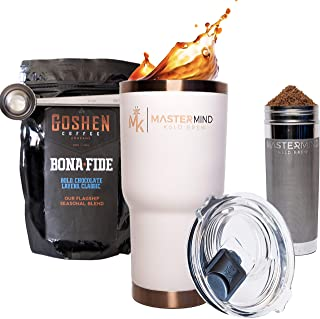 Mastermind Kold Brewer V1 Patented Portable Cold Brew Coffee Maker and 30oz Vacuum Insulated Tumber + Coffee + Scoop (Pearl)