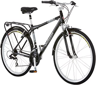 Schwinn Discover Hybrid Bikes for Men and Women, Featuring Aluminum City Frame, 21-Speed Drivetrain, Front and Rear Fenders, Rear Cargo Rack, and Kick-Stand, with 700c/28-Inch Wheels, Black and White