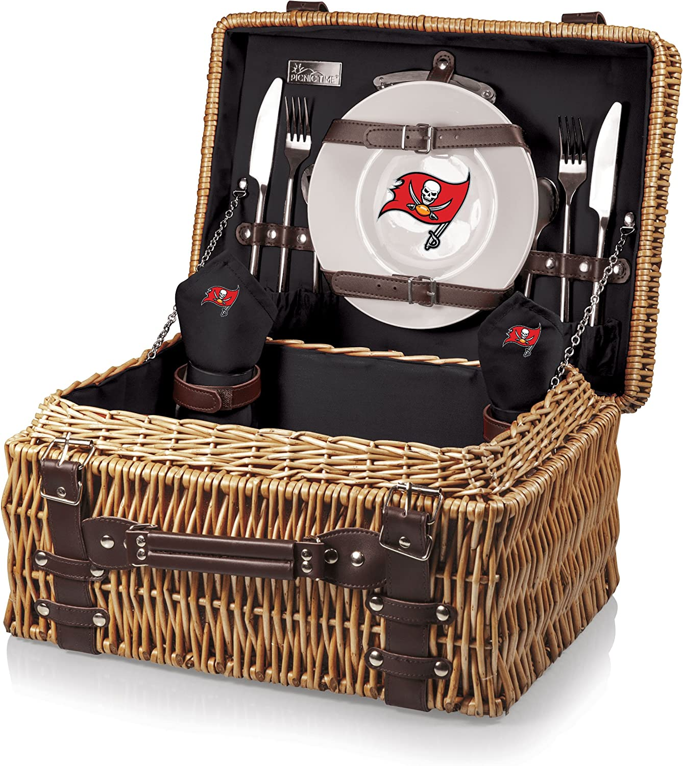 NFL Tampa Bay Buccaneers Champion Picnic Basket with Deluxe Service for Two, Black