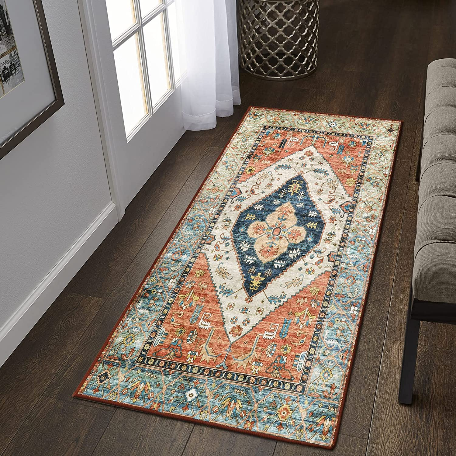 Lahome Collection Traditional Area Rug - Distressed Vintage Persian Oriental Area Rug Small Accent Throw Low Pile Rugs Floor Carpet for Door Mat Entryway Bedrooms Decor (2' X 4', Persian Formal)
