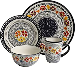 Gibson Elite 92995.16R Luxembourg Handpainted 16 Piece Dinnerware Set, Blue and Cream w/Floral Designs