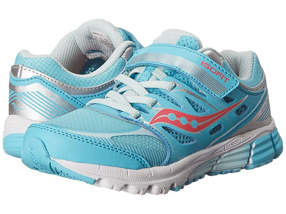 Saucony Kids Zealot A/C (Little Kid) (Turquoise/Silver/Vizi Coral) Girls Shoes