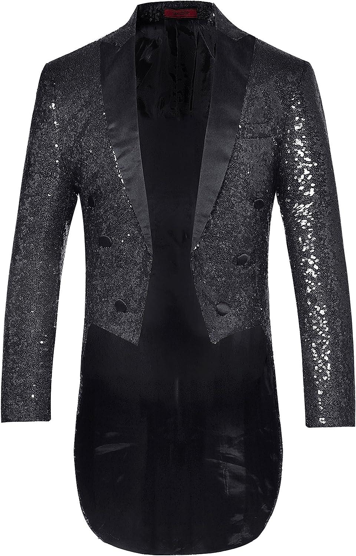 Mens Tails Slim Fit Tailcoat Dress Swallowtail Sequin Coat 2020秋冬新作 Dinne 爆買い新作