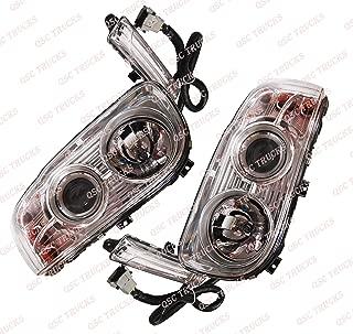 QSC Right & Left Side Headlights Set w/Projector + Bulbs for Peterbilt 388 389