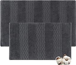 Cotton Bath Rugs Water Absorbent Stripe Design Bathmat Set of 2 (Size 21x34/17x24 Color Charcoal)