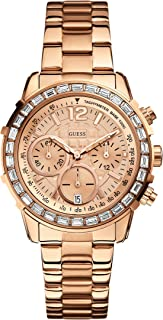 GUESS Women's U0016L5 Dazzling Hi-Energy Rose Gold-Tone Chronograph Sport Watch with Genuine Crystal Accents