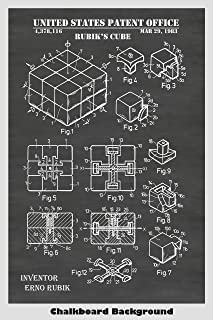 Rubik's Cube Patent Print Art Poster: Choose From Multiple Size and Background Color Options