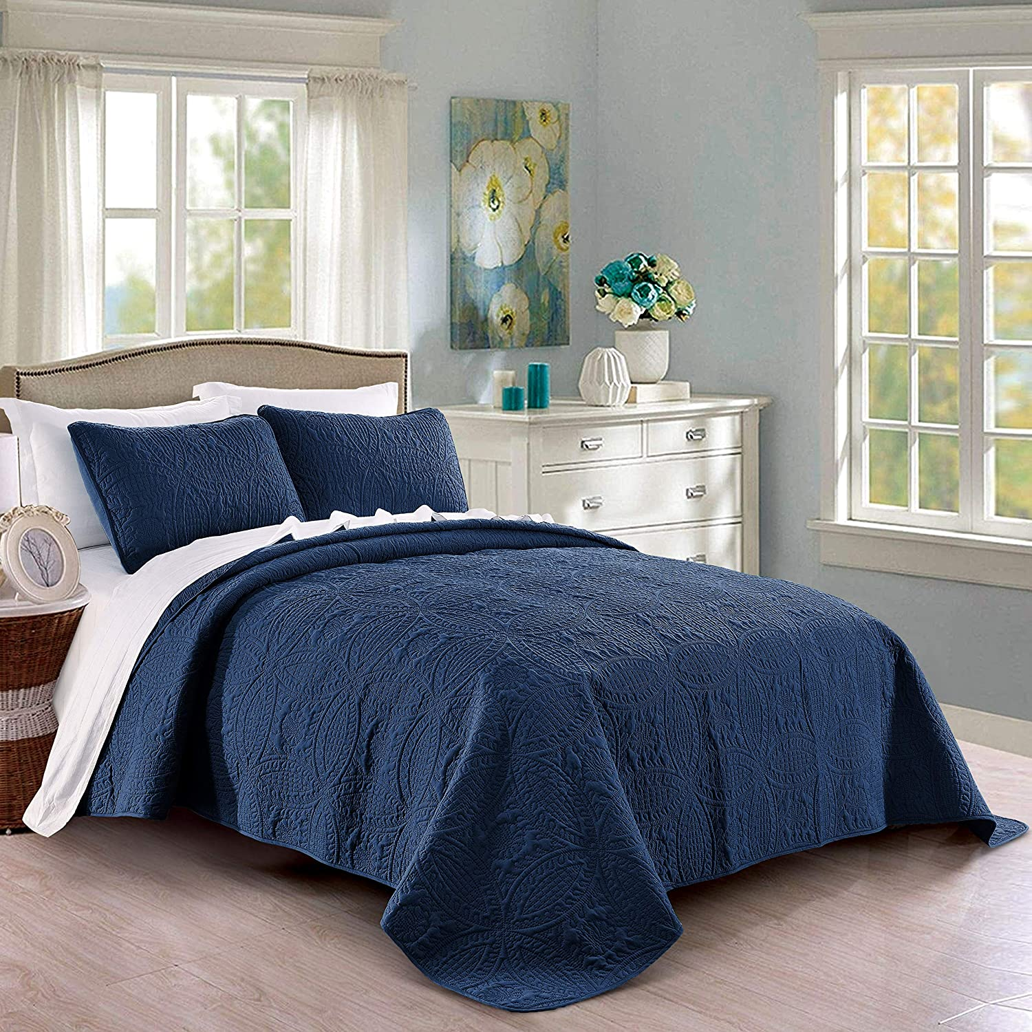 Quilt Set Outlet ☆ Free Shipping Full Queen High quality new Size Navy - Oversized Micr Soft Bedspread