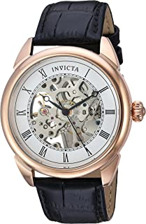 Invicta 23537 Watch Men's Specialty Mechanical Hand Wind Stainless Steel and Leather Casual, Black